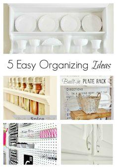 Five easy organizing ideas!  via www.thistlewoodfarms.com  #organizing  #organization