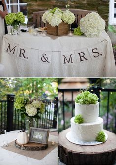 Rustic Chic Green and White Wedding--- i like the lace w the rustic and wood!