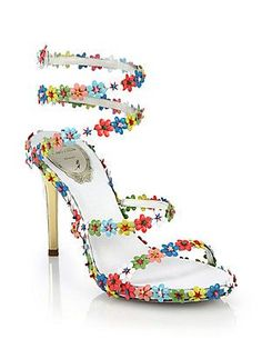 Rene Caovilla Flower-Beaded Leather Sandals