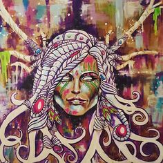 """Old piece, circa 2011. First painting I did when I decided this was my path in life. """"Nature Deity"""" 22x25 inches Acrylic on recycled Bristol board (starbux sign) ;) #acrylic #painting #portraitart #art #visionaryart #johngayart"""