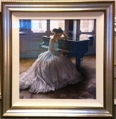 This Rob Hefferan original has a wide silvery gold frame with linen slip and uses Tru Vue art glass which looks invisible