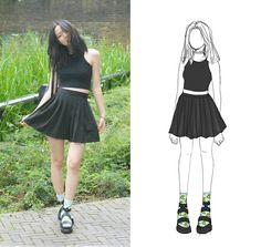 Yona L - Etsy Clear Studded Choker, American Apparel Black Crop Top, Cleo And Pateh Black Backpack, Ebay School Knife Pleated Black Skirt, Aliexpress Banana Socks, Boohoo Black Platform Cleated Sandals - Simply back