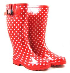 Red wellies for gardening