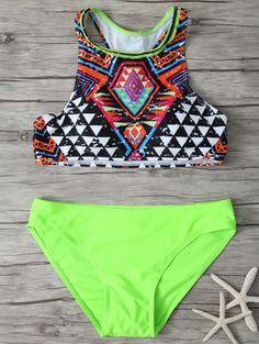 Printed Round Neck Bikini Set - MULTICOLOR S