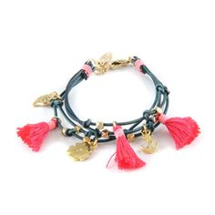 Round Leather with Thread Tassel and Gold plated Charms Bracelet By www.damijina.co.uk