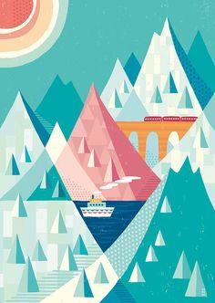白い渓谷の果て_suzuki tomoko Gouache, Paper Cutting, Colored Pencils, Vector Art, Adobe Illustrator, Illustration Art, Kids Shop, Scene, Graphic Design