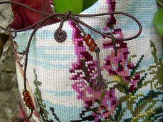Boho hanging bag of vintage needlepoint by AtelierMonPlaisir, €39.00