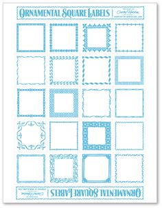 Free printable square labels that you just type in what you want in the font you want and print!  Use for labeling canisters, spice jars, favors, etc..!