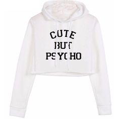 Cute but psycho cropped hoodie (2,225 MXN) ❤ liked on Polyvore featuring tops, hoodies, white crop top, cropped pullover hoodie, hooded sweatshirt, short sleeve hoodie and crop top