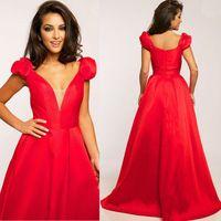 new arrival Elegant Short Sleeves A Line Long Red Evening Dress vestido de madrinha de casamento longo-106.99$