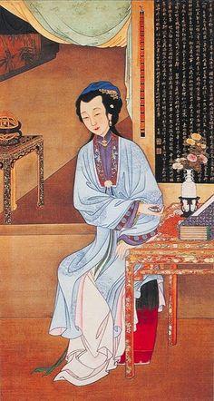 "雍親王題書堂深居圖屏『持表對菊』,1709-1723。""The Twelve Beauties,"" ""Twelve Concubines of the Emperor Yongzheng"""