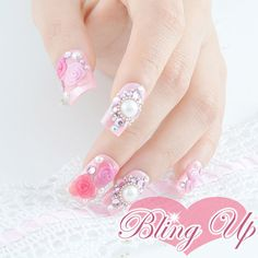 Japanese Nail Art Light Pink Nail Tip with 3D Roses by blingup, $42.99