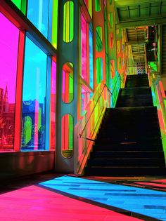 Neon Aesthetic, Rainbow Aesthetic, Colour Architecture, Amazing Architecture, Psychedelic Art, Wall Collage, Rainbow Colors, Color Splash, Interior And Exterior