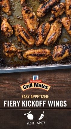 Deliver winning flavor at your next backyard barbecue with these Fiery Kickoff Wings. With a kick of crushed red pepper, Grill Mates Zesty Herb Marinade is the perfect short-cut to great taste. Pump up the flavor this summer with McCormick. Grilling Recipes, Meat Recipes, Appetizer Recipes, Dinner Recipes, Cooking Recipes, Healthy Recipes, Appetizers, Chicken Wing Recipes, Baked Chicken