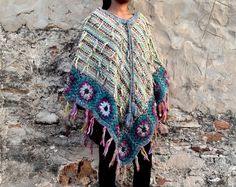 Wool Poncho Handmade Ethno  with Fringes 100% Handmade by Coisas4u