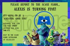 Monsters Inc. Birthday Invitation by PoshPartyPrints on Etsy, $1.00