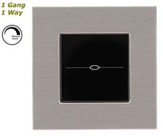 GLSTouch Designer Silver & Black Brushed Aluminium Dimmer Touch Light Switch (On/Off) 1 Gang 1 Way