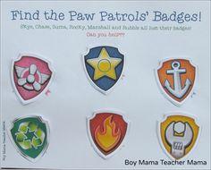 Boy Mama Teacher Mama  FREE Paw Patrol Find the Badge 7