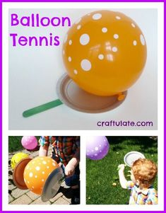 Balloon Tennis - gross motor fun from Craftulate Movement Activities, Gross Motor Activities, Outdoor Activities For Kids, Gross Motor Skills, Summer Activities, Toddler Activities, Preschool Activities, Physical Activities, Music Activities