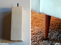 replace tacky ikea legs with mid-century mod inspired diy ACE Hardware, tuft pillows with buttons