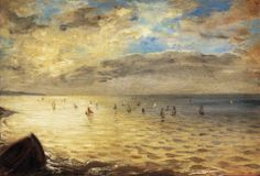 "Eugène Delacroix (French, Romanticism, 1798–1863): Sea Viewed from the Heights of Dieppe, 1852. Oil on cardboard mounted on wood, 35 x 51 cm. Musée du Louvre, Paris, France.  ""But it is The Sea from the Heights of Dieppe, that most clearly demonstrates Delacroix's importance for the Impressionists. Whether or not it was painted in situ, the rapidity of the brush strokes prefigures the rapid notations of the open-air school."""