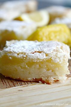Only From Scratch: Paula Deen's Lemon Bars. Replace flour with tapioca flour or cornstarch, try egg substitute also.