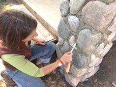 DIYNetwork.com experts show how to apply stones to create beautiful pillars.