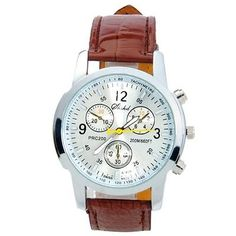 Popular Unisex Round Dial Leather Band Analog Quartz Wrist Watch Coffee