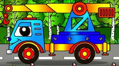 Car Cartoon. Helpy the truck builds a house. Truck transformer. Animatio...