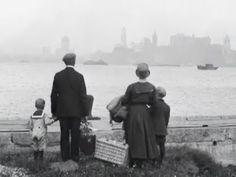 An immigrant family on Ellis Island. New York, circa. late 1800s.