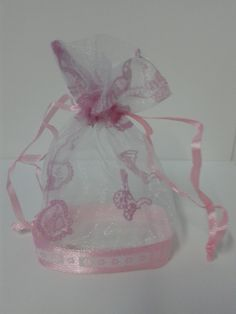 almendrero en tul color rosa para baby shower de ni a