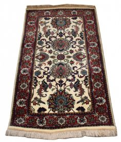 "2.2x3.11 Kashan. Size: 2'2"" x 3'11""  Origin: Persia  Type: Kashan  Material: 100% Wool  Weave: Hand-knotted  Condition: New  Field Color: Cream  Border Color: Royal Red Free Shipping!   In stock, ships within 3-5 business days.7 business day return policy, no restocking fees."