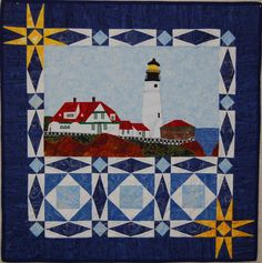 Portland Head Lighthouse quilt, storm at sea, by Terry L. Crean