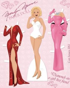 Marilyn Monroe Dress Up Paper Doll - by Cory Jensen    ==        A really beautiful Marilyn Monroe Dress Up Paper Doll, created by North American designer Cory Jensen and originally posted at DeviantArt.