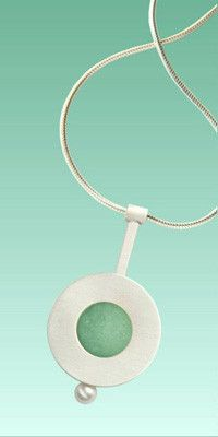Mar Jewelry - Brushed Sterling Silver with Sea Glass Pendant