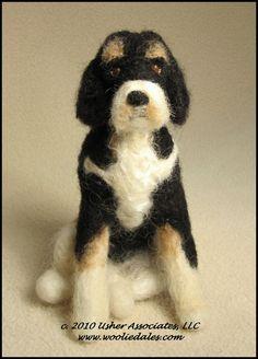 Woolie-dogs Breed Samples; Wooliedales needle felted wool sculptures; woolydales; usher