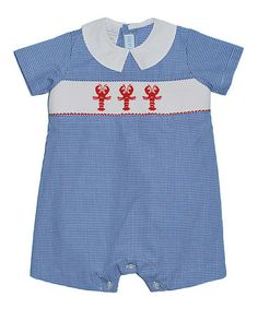 bffe5e782cd Love this Blue Gingham Lobster Romper - Infant by Vive La Fête on  zulily!