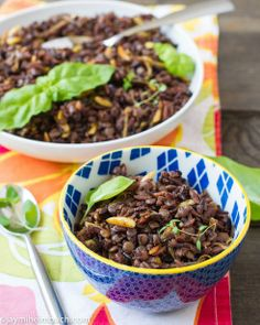 Curried wild rice, lentil and orzo salad with caramelized onions and toasted almonds vegan recipe