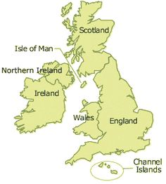 map of England, Wales, Scotland and Ireland I've traced a lot of my family history back to these countries