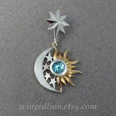 ECLISSI  sole e Luna 14 k oro e argento ciondolo con di WingedLion