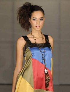 A model presents a creation by Dominican designer Marethe during Caribbean Fashion Week RD 2012 in Santo Domingo July 22, 2012.
