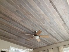 DIY Faux Rustic Plank Ceiling - (step by step instructions via The Quaint Cottage)