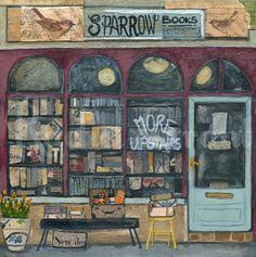 "Original Mixed Media On Wood ""Sparrow Books"" by Rachel Grant"