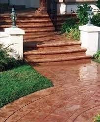 Red, Brushed Steps and Stairs Brickform Rialto, CA Decorative Concrete Steps Painted Concrete Floors, Concrete Steps, Stained Concrete, Concrete Projects, Outdoor Projects, Front Stairs, Front Porch, Stair Walls, Raised Patio