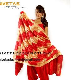 Shop online for Exclusive Pure red and golden  coloured  Chinnon Chiffon Phulkari Dupatta at best price. Buy Exclusive Pure red and golden  coloured  Chinnon Chiffon Phulkari Dupatta and get 20% Discount by nivetas on Kraftly.