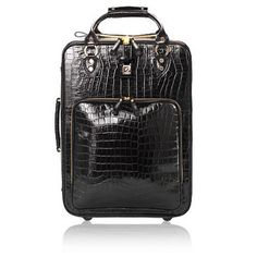 Large Cabin Case in Black Croc - Aspinal of London