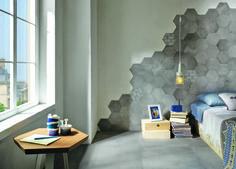 Serie Over - Mo. Tile Bedroom, Bedroom Wall Designs, Bedroom Bed Design, Small Room Bedroom, Bedroom Styles, Kitchen Tiles Design, Tile Design, Hexagon Wall Tiles, Hex Tile