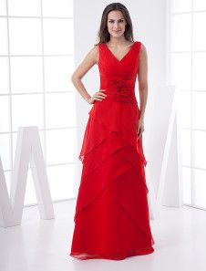 Special Occasions V-Neck Multi-Layer Chiffon Satin Summer Evening Maxi Dress