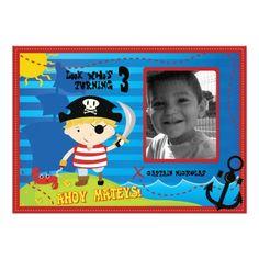 Pirate Boy Birthday Party Invitation, Ahoy Mateys!