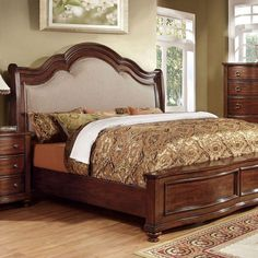 Furniture of America Marcella 4 Piece King Bedroom Set in Brown Cherry (Red) Matching Furniture, Furniture Of America, Upholstered Platform Bed, Bed, Headboard Styles, Furniture, Upholstered Panel Bed, Bedroom Furniture, Upholstered Sleigh Bed